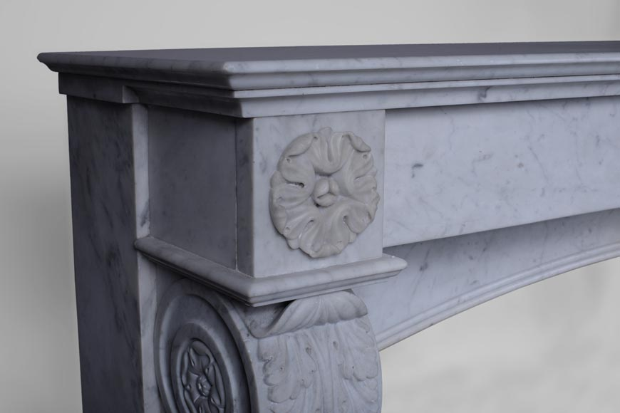 Antique Napoleon III style fireplace with lion's paws in Carrara marble -3
