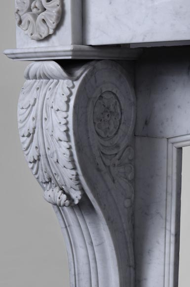 Antique Napoleon III style fireplace with lion's paws in Carrara marble -4