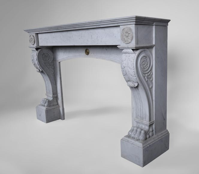Antique Napoleon III style fireplace with lion's paws in Carrara marble -6
