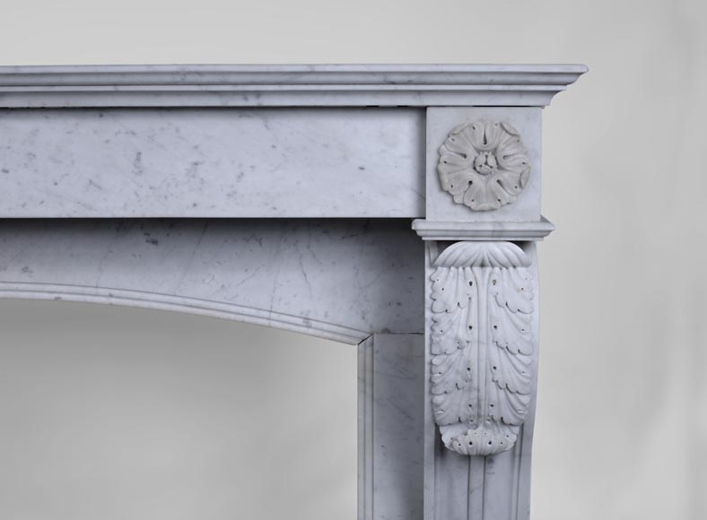Antique Napoleon III style fireplace with lion's paws in Carrara marble -7