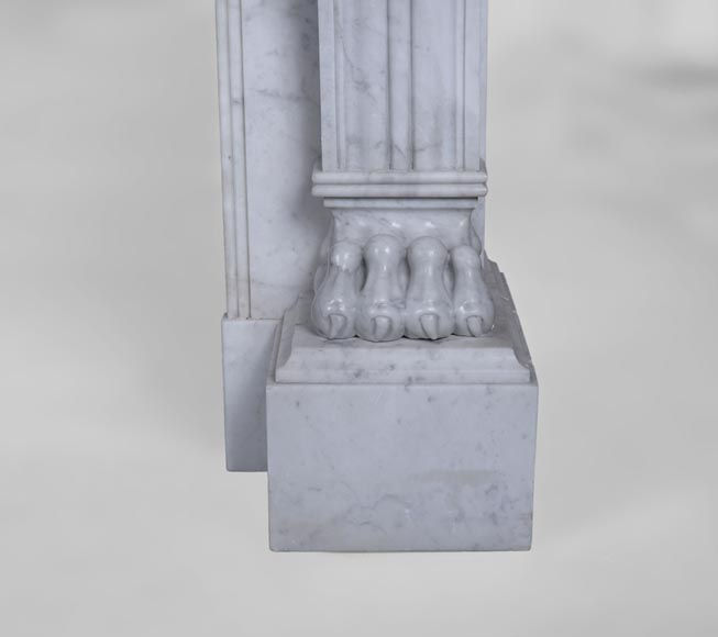 Antique Napoleon III style fireplace with lion's paws in Carrara marble -8