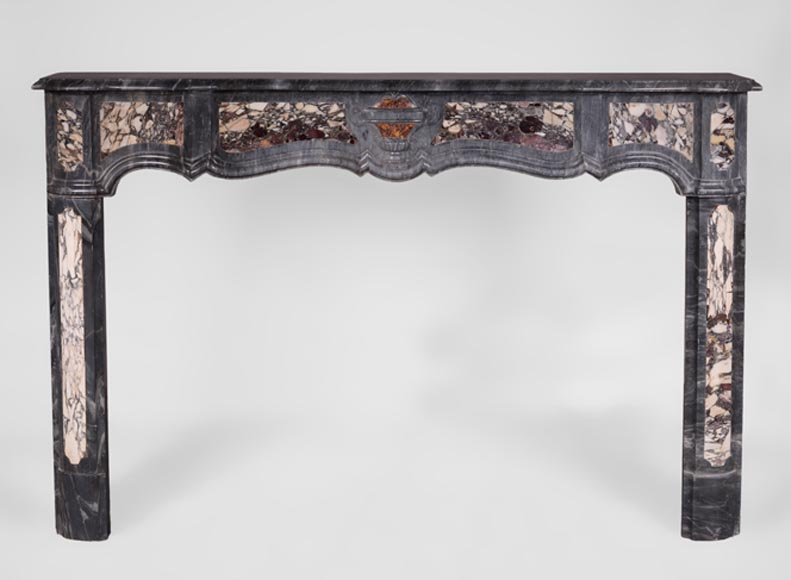 Rare Louis XV period Provencal fireplace in Blue Turquin marble and Violet Breccia marble inlays, 18th century-0
