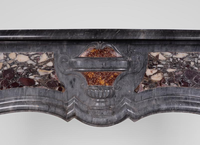 Rare Louis XV period Provencal fireplace in Blue Turquin marble and Violet Breccia marble inlays, 18th century-1
