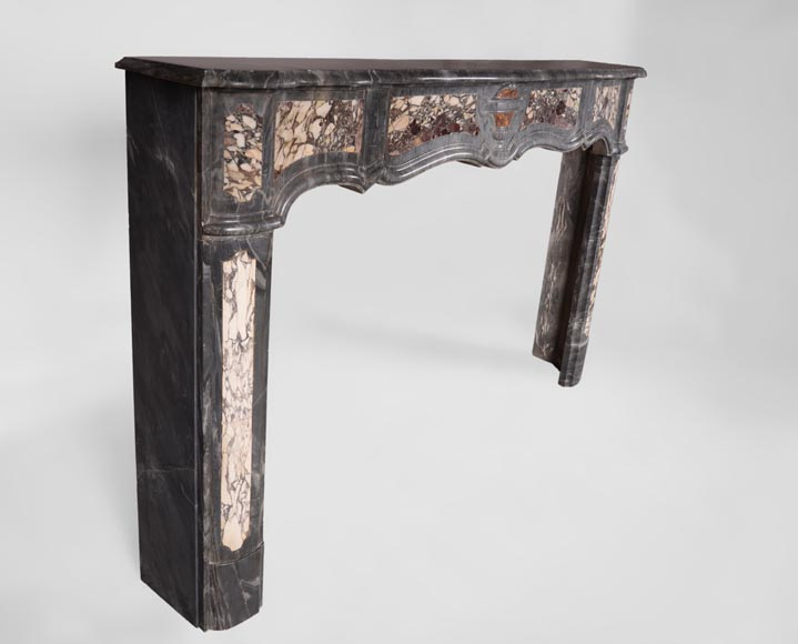 Rare Louis XV period Provencal fireplace in Blue Turquin marble and Violet Breccia marble inlays, 18th century-2