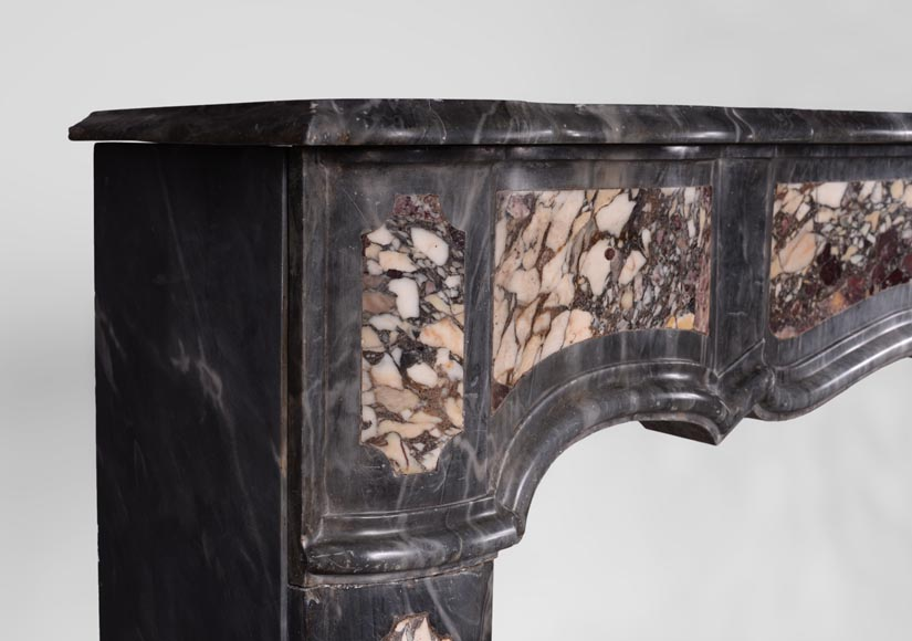 Rare Louis XV period Provencal fireplace in Blue Turquin marble and Violet Breccia marble inlays, 18th century-3