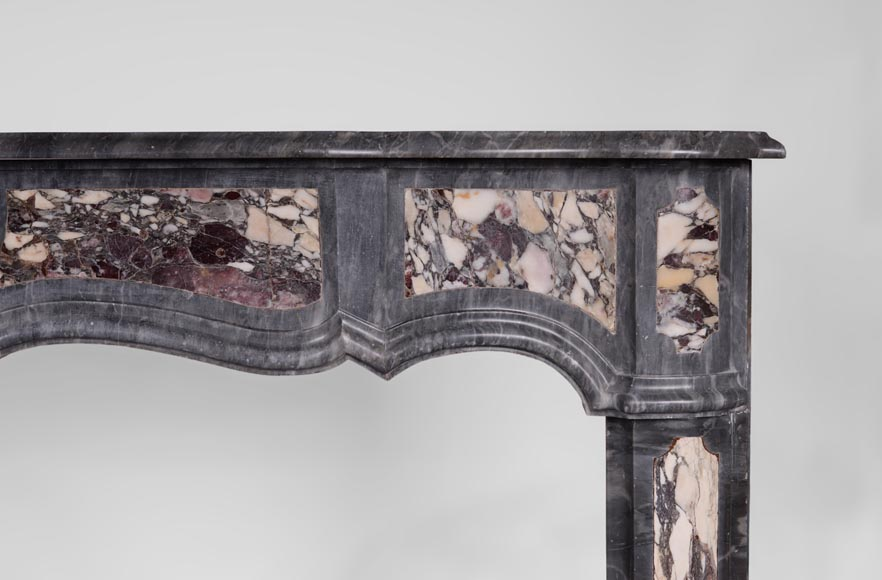 Rare Louis XV period Provencal fireplace in Blue Turquin marble and Violet Breccia marble inlays, 18th century-6