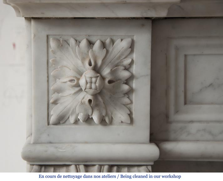 Antique louis xvi style fireplace made out of carrara for Acanthus leaf decoration