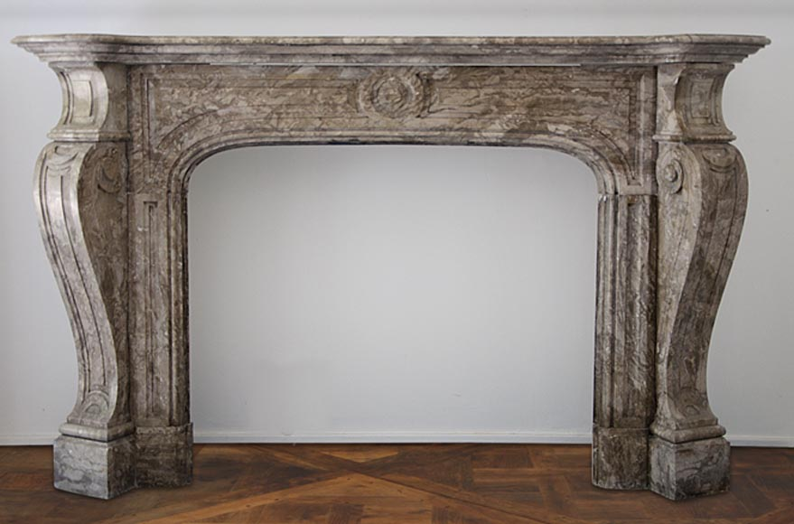 Large antique Louis XV style fireplace made out of Lunel marble - Reference 2584