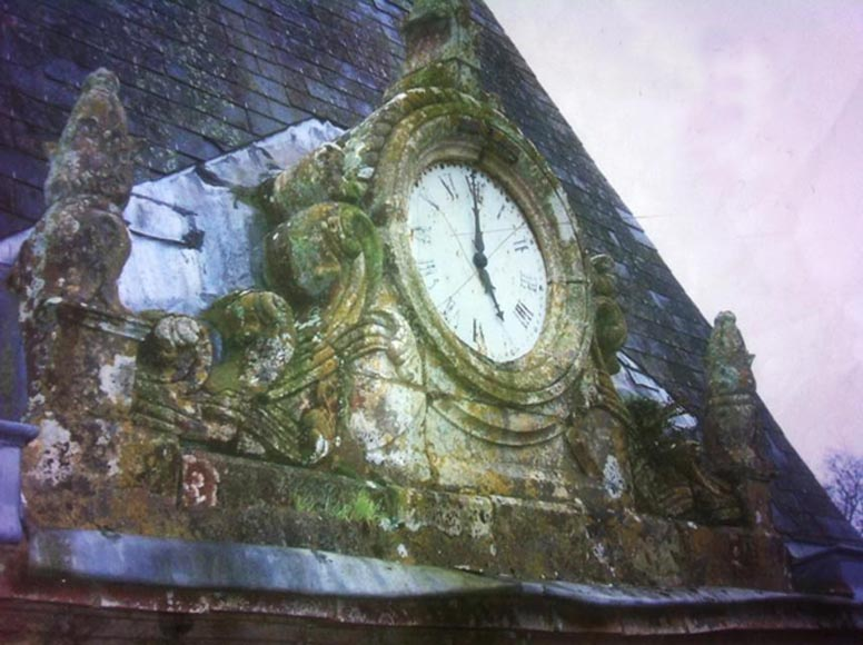 Rare antique pediment with clock coming from the Chateau of La Garcillière in Talmont Saint Hilaire-0