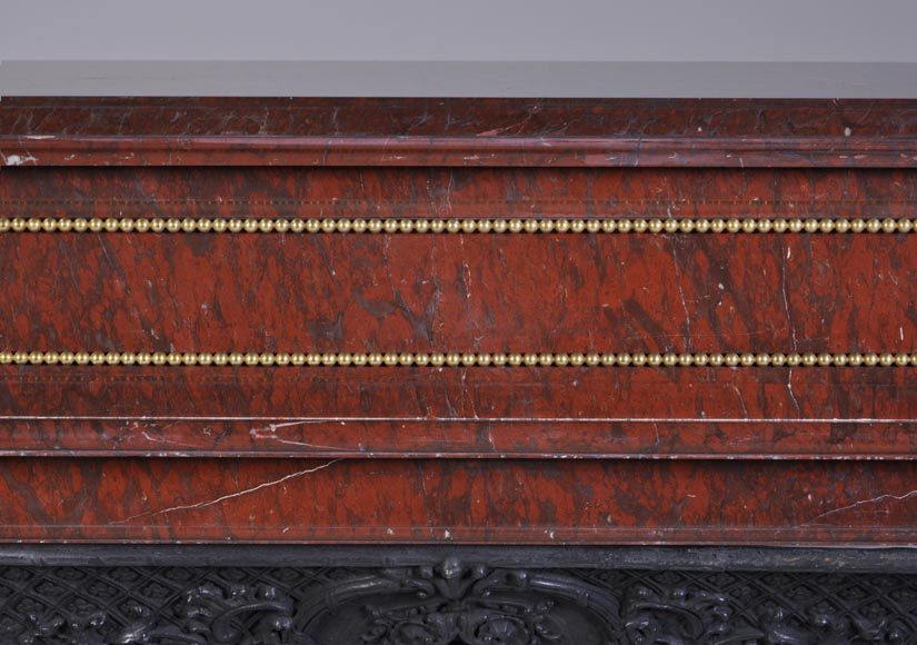 Antique Louis XVI style mantel in Red Griotte marble ornamented with gilded bronze-1