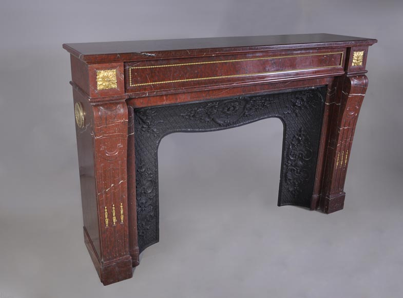 Antique Louis XVI style mantel in Red Griotte marble ornamented with gilded bronze-2