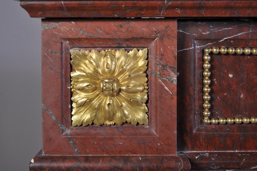 Antique Louis XVI style mantel in Red Griotte marble ornamented with gilded bronze-3