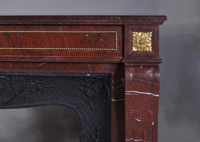 Antique Louis XVI style mantel in Red Griotte marble ornamented with gilded bronze-7