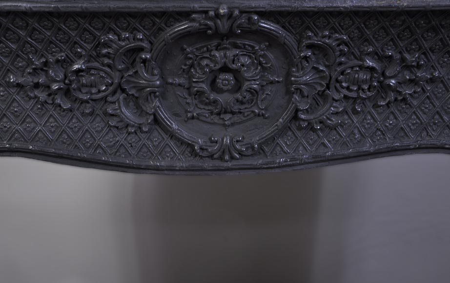 Antique Louis XVI style mantel in Red Griotte marble ornamented with gilded bronze-10