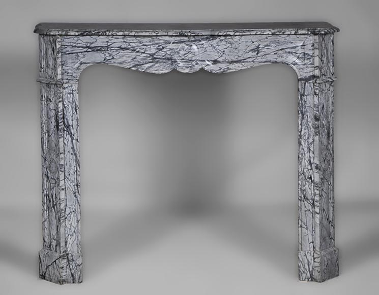 Antique Louis XV style Pompadour fireplace made out of Bleu Fleuri marble - Reference 2595