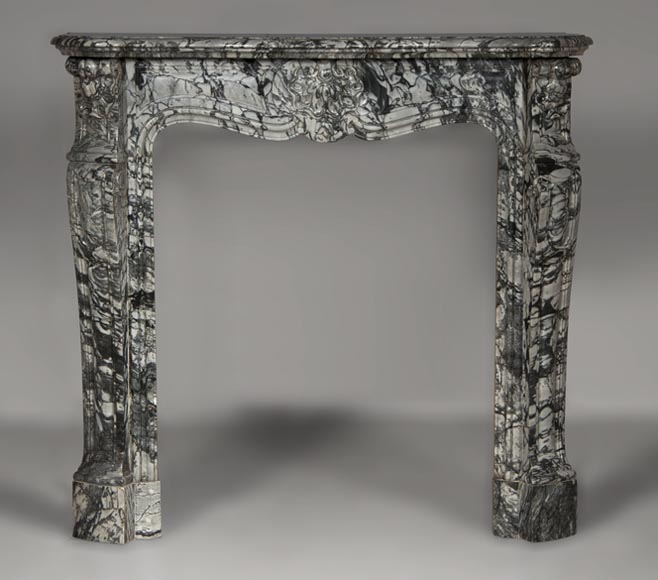 Small antique Louis XV style three shells fireplace made out of Bleu Fleuri marble  - Reference 2601