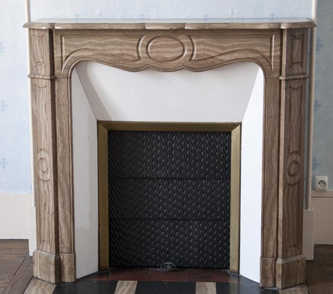 Antique Pompadour Louis XV style fireplace made out of a highly decorative brown marble - Reference 2603