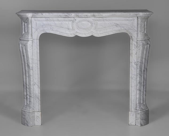 Antique Pompadour style fireplace made out of White Carrara veined marble - Reference 2605