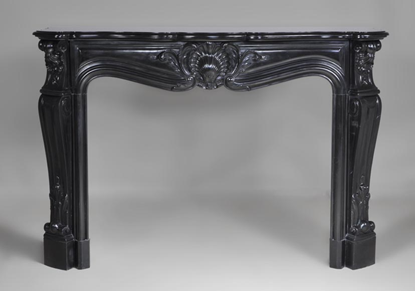 Beautiful antique Louis XV style fireplace made out of Black from Belgium marble - Reference 2610