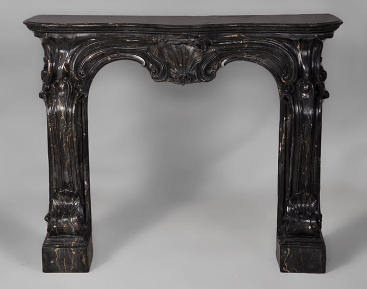 Antique Napoleon III style fireplace made out of scagliola painted in Portor marble imitation-0