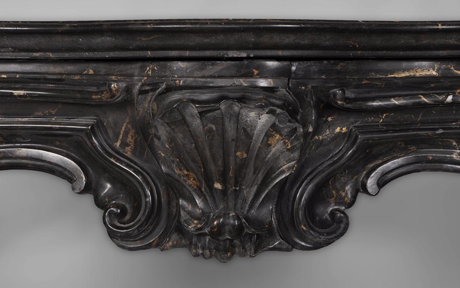 Antique Napoleon III style fireplace made out of scagliola painted in Portor marble imitation-1