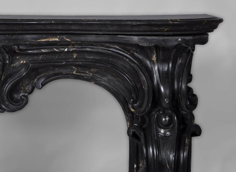 Antique Napoleon III style fireplace made out of scagliola painted in Portor marble imitation-8