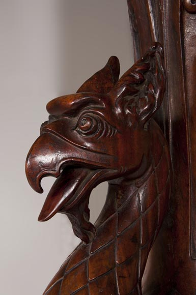 Mahogany Paneled Rooms: Stair Banister With Griffin Decor Made Out Of Mahogany
