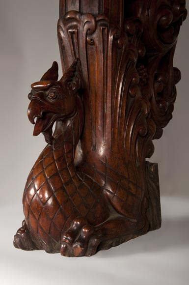 Stair banister with griffin decor made out of mahogany circa 1910-1