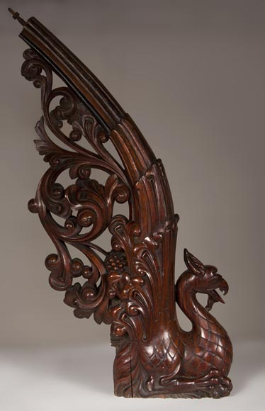 Stair banister with griffin decor made out of mahogany circa 1910-3