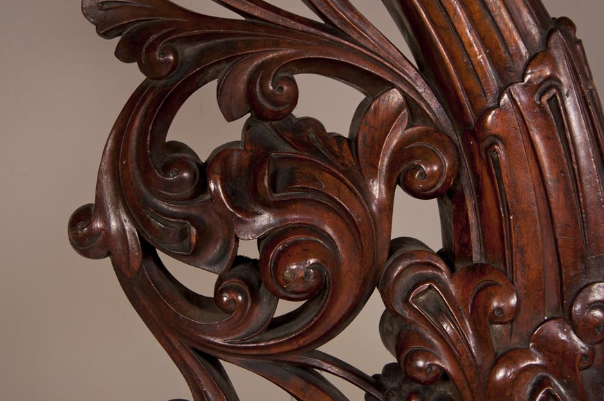 Stair banister with griffin decor made out of mahogany circa 1910-5