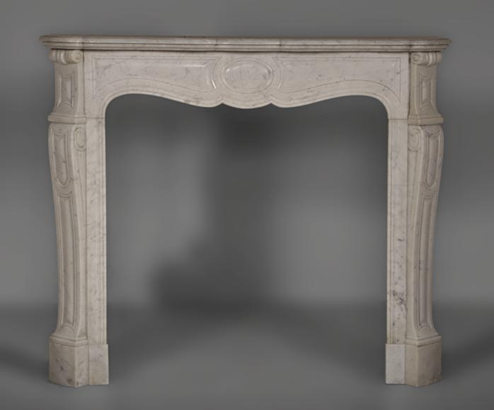 Antique Louis XV style Pompadour fireplace made out of Carrara marble - Reference 2619