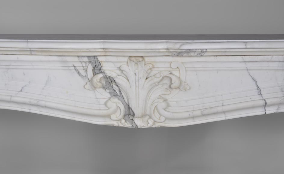 Antique Regence style fireplace with shell decor made out of Arabescato marble-1
