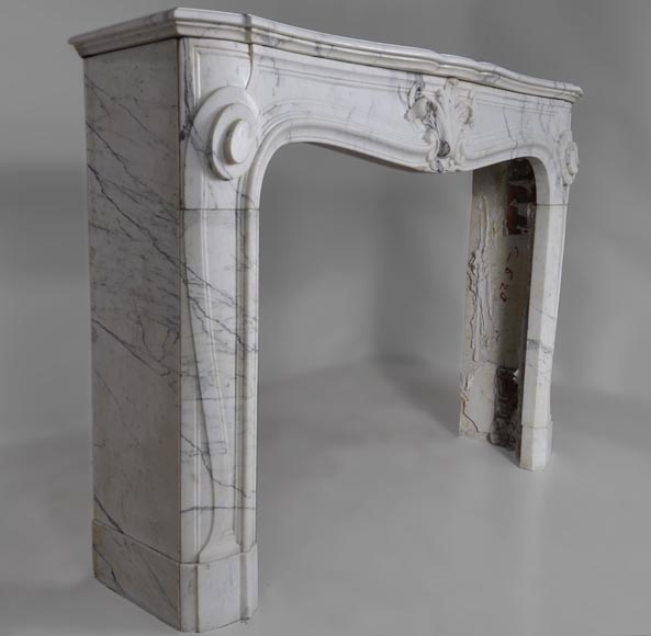Antique Regence style fireplace with shell decor made out of Arabescato marble-2