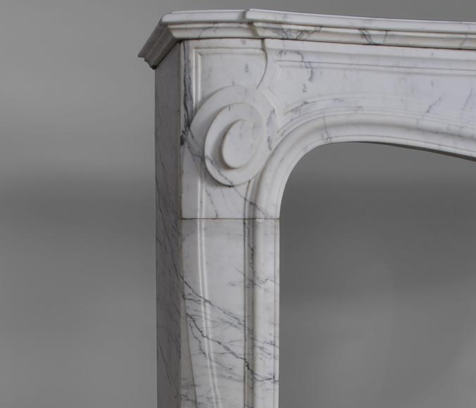 Antique Regence style fireplace with shell decor made out of Arabescato marble-3