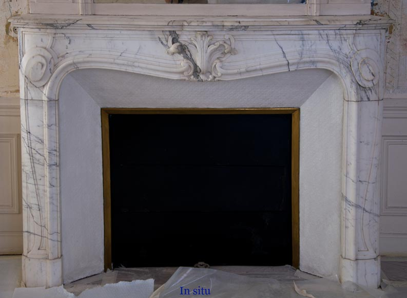 Antique Regence style fireplace with shell decor made out of Arabescato marble-8