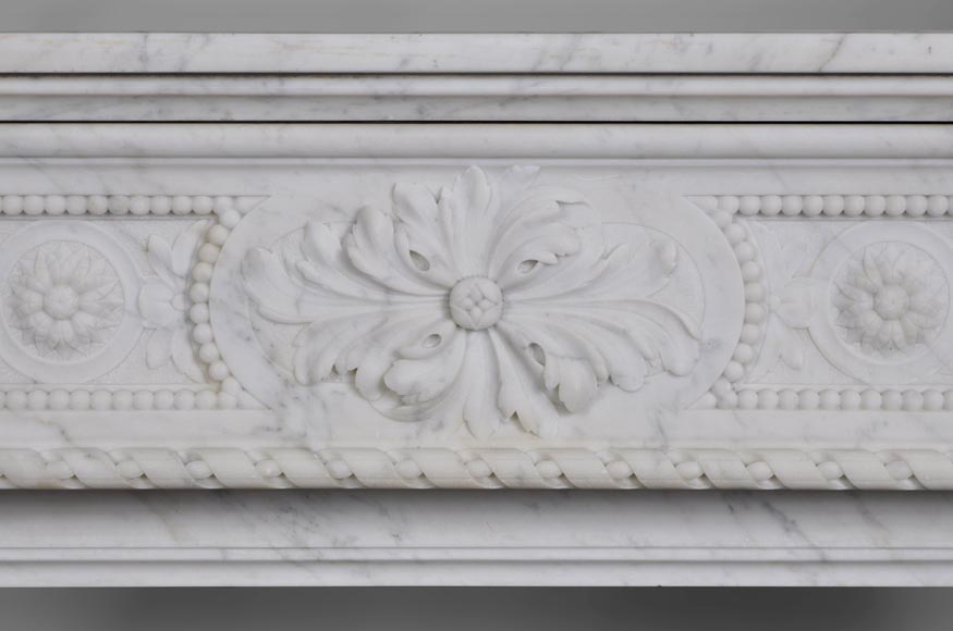 Very beautiful antique Louis XVI style fireplace with realistics flowers decor sculpted in white Carrara marble-1