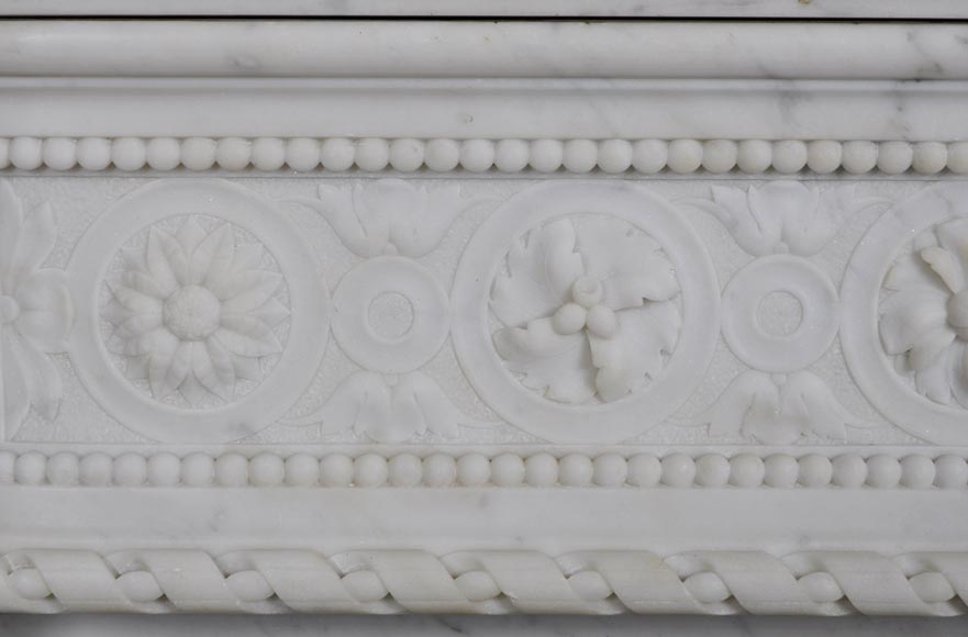 Very beautiful antique Louis XVI style fireplace with realistics flowers decor sculpted in white Carrara marble-2
