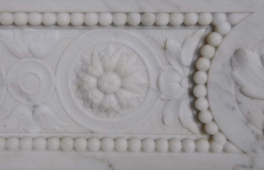 Very beautiful antique Louis XVI style fireplace with realistics flowers decor sculpted in white Carrara marble-3