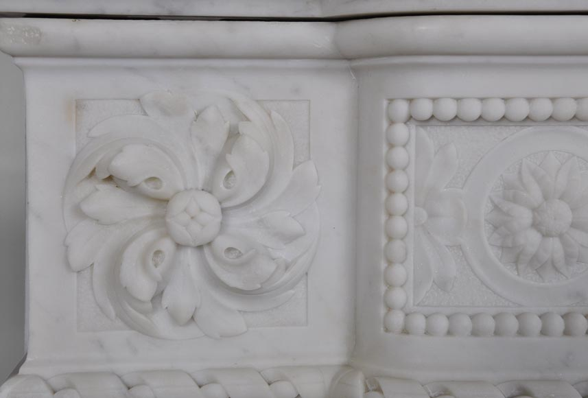 Very beautiful antique Louis XVI style fireplace with realistics flowers decor sculpted in white Carrara marble-5
