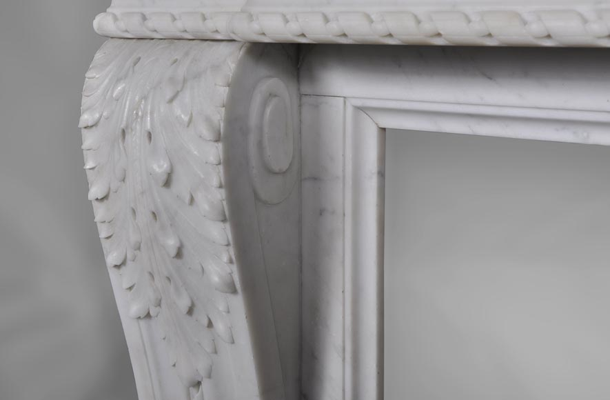 Very beautiful antique Louis XVI style fireplace with realistics flowers decor sculpted in white Carrara marble-6