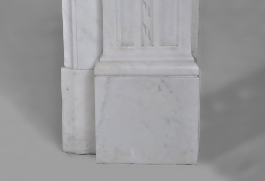 Very beautiful antique Louis XVI style fireplace with realistics flowers decor sculpted in white Carrara marble-10
