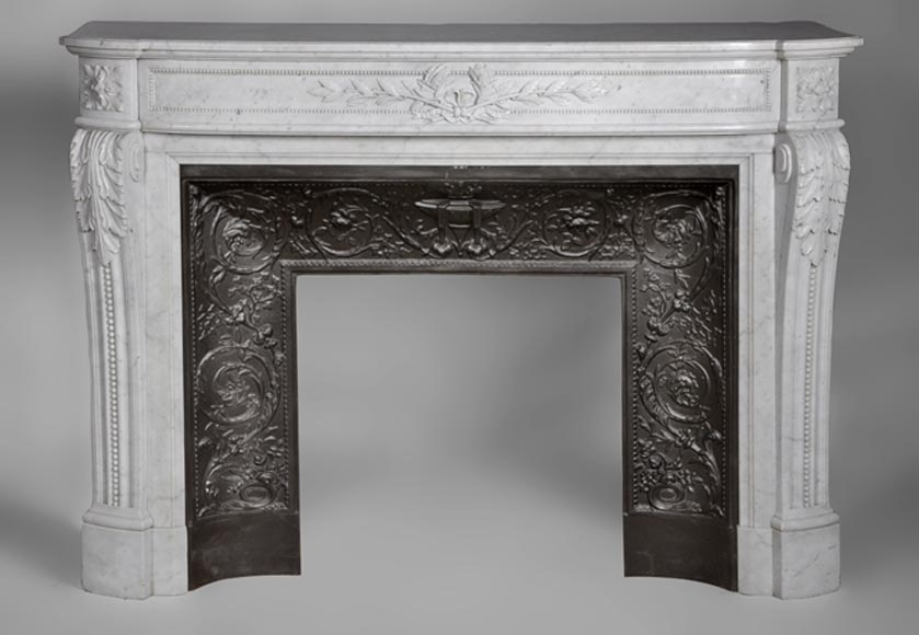 Very beautiful antique Louis XVI style fireplace with curved frieze and laurel branches decor made out of Carrara marble-0