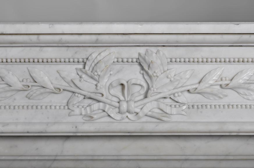 Very beautiful antique Louis XVI style fireplace with curved frieze and laurel branches decor made out of Carrara marble-1