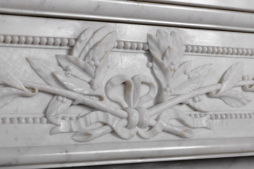 Very beautiful antique Louis XVI style fireplace with curved frieze and laurel branches decor made out of Carrara marble-2