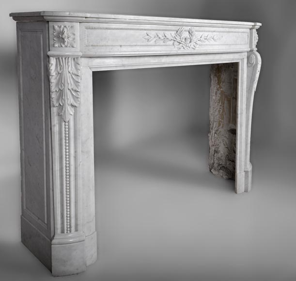 Very beautiful antique Louis XVI style fireplace with curved frieze and laurel branches decor made out of Carrara marble-4