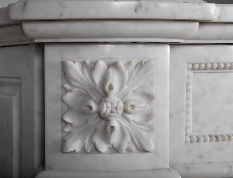 Very beautiful antique Louis XVI style fireplace with curved frieze and laurel branches decor made out of Carrara marble-5