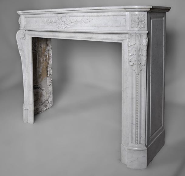 Very beautiful antique Louis XVI style fireplace with curved frieze and laurel branches decor made out of Carrara marble-8