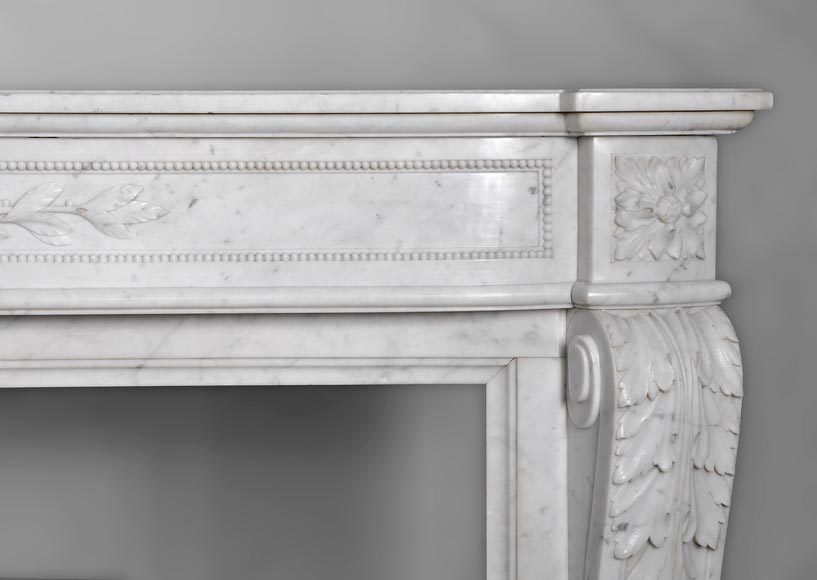 Very beautiful antique Louis XVI style fireplace with curved frieze and laurel branches decor made out of Carrara marble-9
