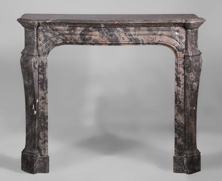 Antique Louis XV style fireplace, curved Pompadour model, in Bois Jourdan marble - Reference 2654