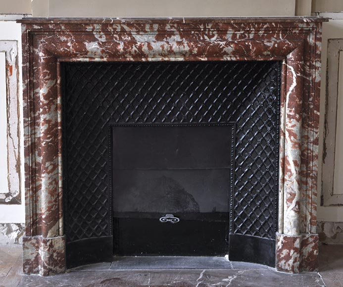 "Antique Louis XIV style ""Bollection"" fireplace made out of Red from the Languedoc marble - Reference 2676"